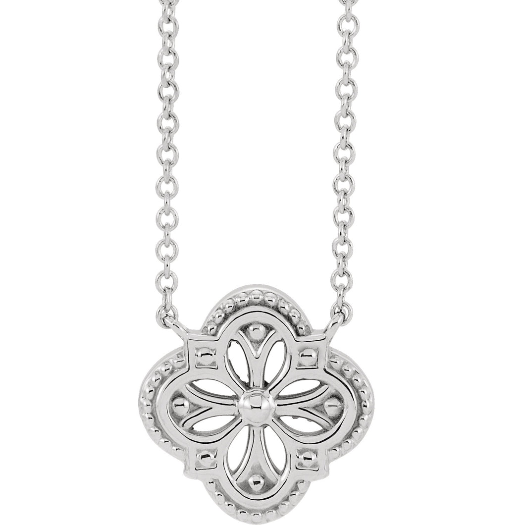 14KT White Gold Vintage-Inspired Clover Necklace, 14KT White Gold Vintage-Inspired Clover Necklace - Legacy Saint Jewelry