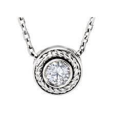 Load image into Gallery viewer, 14KT White Gold Diamond Bezel Rope Chain Necklace, 14KT White Gold Diamond Bezel Rope Chain Necklace - Legacy Saint Jewelry