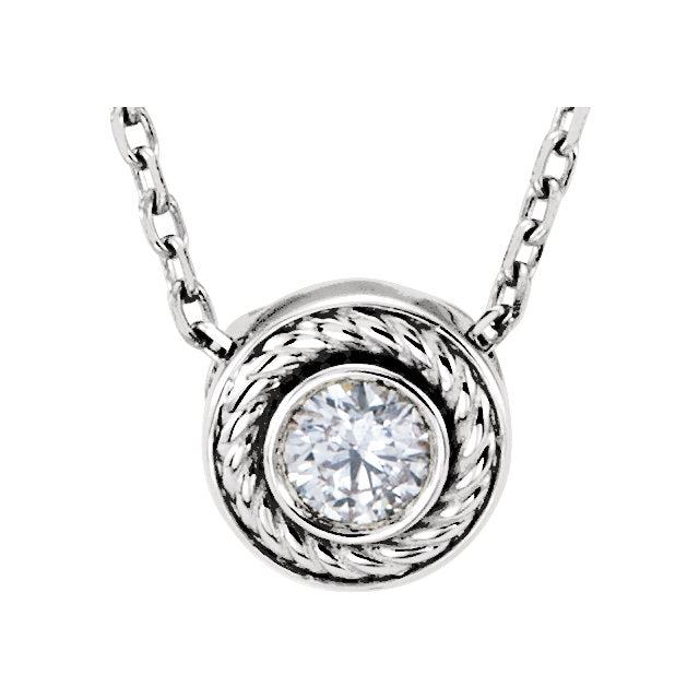 14KT White Gold Diamond Bezel Rope Chain Necklace, 14KT White Gold Diamond Bezel Rope Chain Necklace - Legacy Saint Jewelry