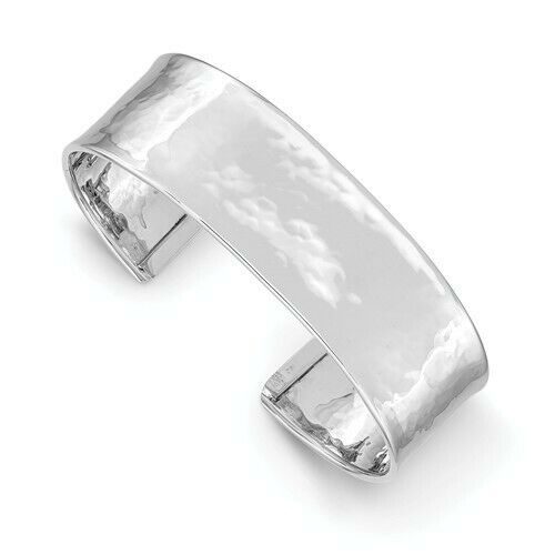 14KT White Gold Hammered Cuff Bracelet 19mm, 14KT White Gold Hammered Cuff Bracelet 19mm - Legacy Saint Jewelry