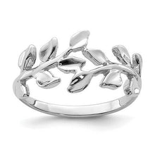 Load image into Gallery viewer, 14KT White Gold Polished Leaf Ring, 14KT White Gold Polished Leaf Ring - Legacy Saint Jewelry