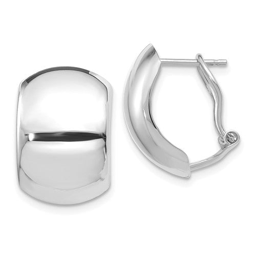 14KT White Gold Polished Omega Back Earrings, 14KT White Gold Polished Omega Back Earrings - Legacy Saint Jewelry