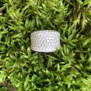 Estate 14KT White Gold Pave Diamond Concave Ring, Estate 14KT White Gold Pave Diamond Concave Ring - Legacy Saint Jewelry