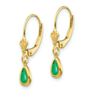 14KT Yellow Gold Pear Emerald Lever Back Earrings, 14KT Yellow Gold Pear Emerald Lever Back Earrings - Legacy Saint Jewelry