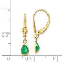 Load image into Gallery viewer, 14KT Yellow Gold Pear Emerald Lever Back Earrings, 14KT Yellow Gold Pear Emerald Lever Back Earrings - Legacy Saint Jewelry
