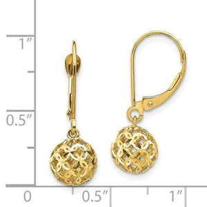 14KT Yellow Gold Filigree Ball Lever Back Earrings, 14KT Yellow Gold Filigree Ball Lever Back Earrings - Legacy Saint Jewelry