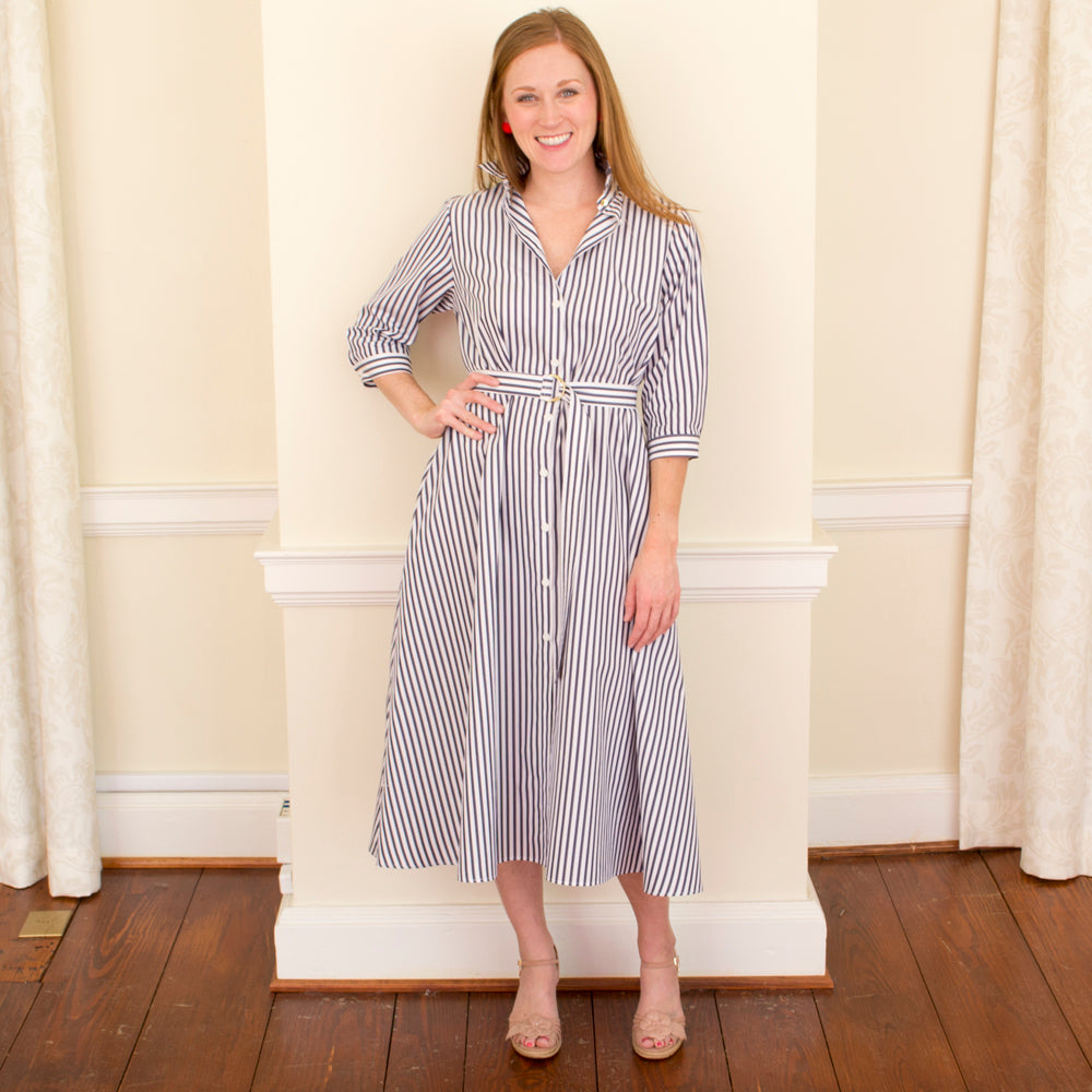 mds stripe shirtdress