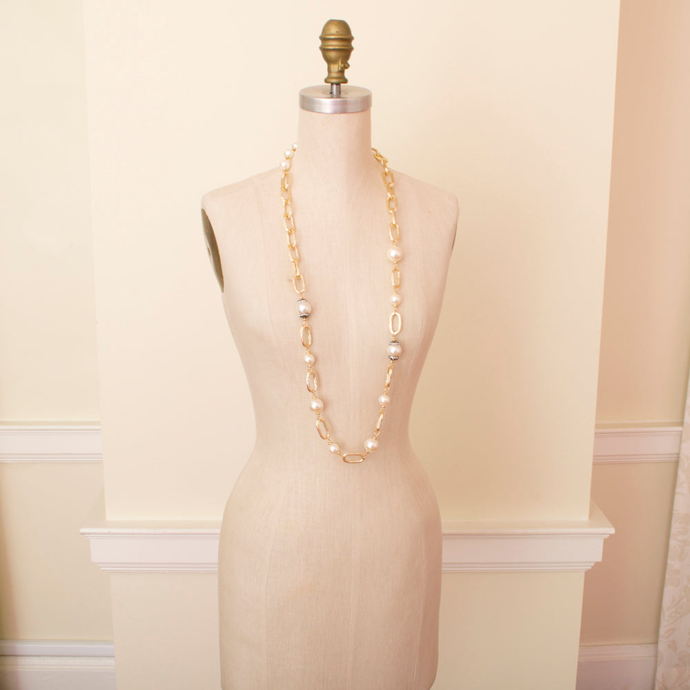 edward achour chain link pearl necklace