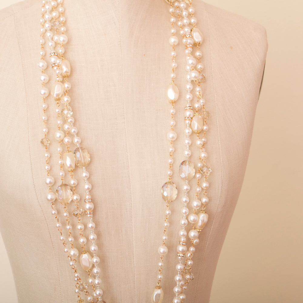 edward achour crystal and pearl necklace