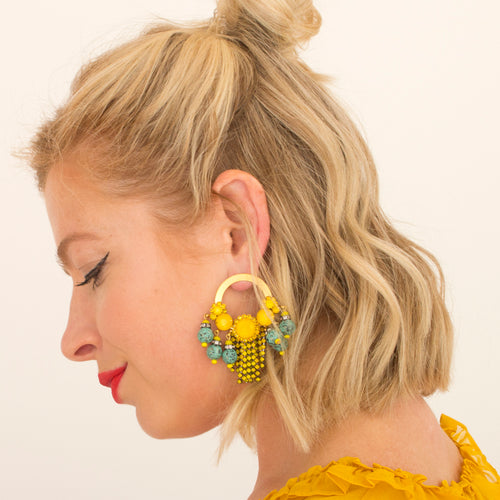 Callie Earring - yellow turquoise