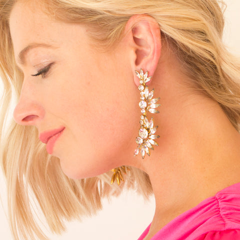 Round Drop White Earring