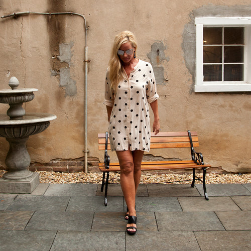 polka dot oversized shirtdress