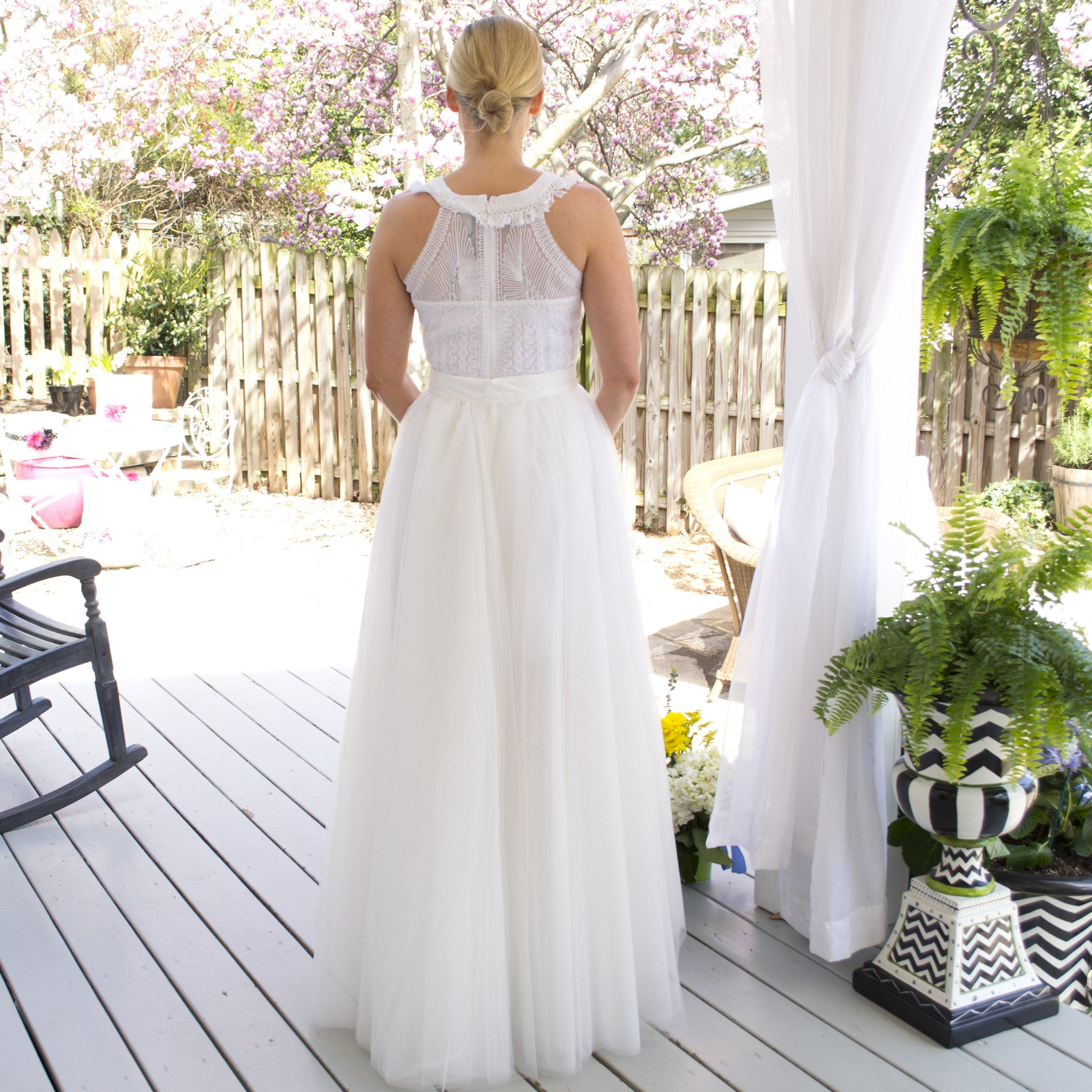 Tulle Skirt Overlay - white