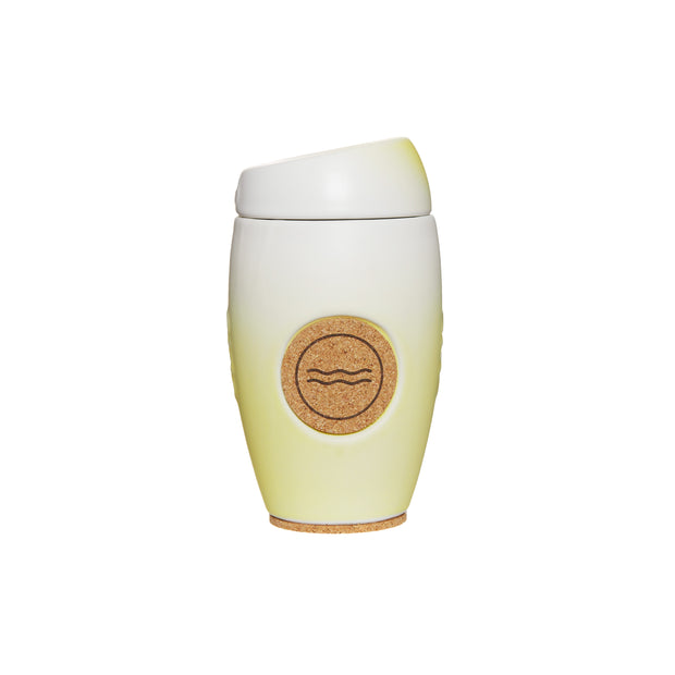 Oblo cup, ceramic reusable coffee cup, Sol colour