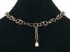 Antiqued Chain with stampings and mother of pearl cabochon (Web-150)