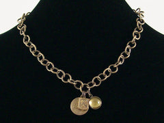 Antiqued Chain with stampings and quartz crystal cabochon (Web-151)