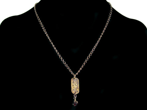 Antiqued ladder chain with hand-stamping & garnet crystal (Web-154)
