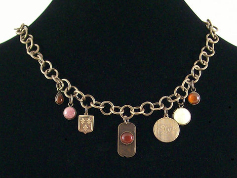 Antiqued chain drop choker with various cabochons and metal stampings (Web-156)