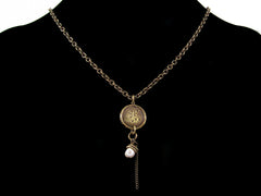 Antiqued small etched oval chain with hand-stamped medallion & pearl drop (Web-159)