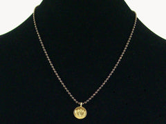 Antiqued ball chain with Hill tribe lotus charm (Web-161)