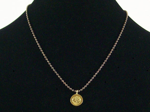 Antiqued ball chain with Hill tribe Ohm charm (Web-163)