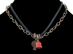 Antiqued etched chain with stamped charms, sponge coral & leather (Web-166)