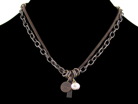 Antiqued etched chain with stamped charms, pearl & leather (Web-167)