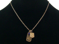 Antiqued figaro chain with stampings & lapis  (Web-170)