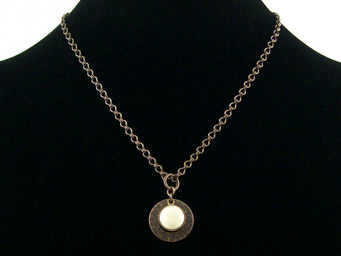 Antiqued ladder chain with lemon stone & hammered ring (Web-176)