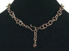 Antiqued round chain with brass disc-set turquoise (Web-181)