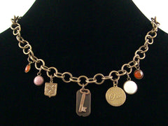 Antiqued round chain with multiple charms & drops (Web-182)