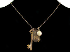 Antiqued ball chain with charms, stampings & cabochons (Web-183)