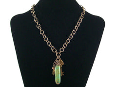 Antiqued round chain with turquoise spike, charm & cabochon (Web-185)