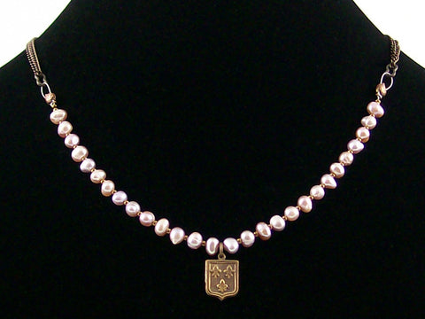 Antiqued chain necklace with mauve pearl strand & stamping (Web-186)