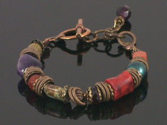 Single-strand Multi-stone toggle bracelet (Web-188)