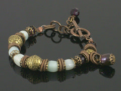 Single-strand Amazonite & crystal toggle bracelet (Web-191)