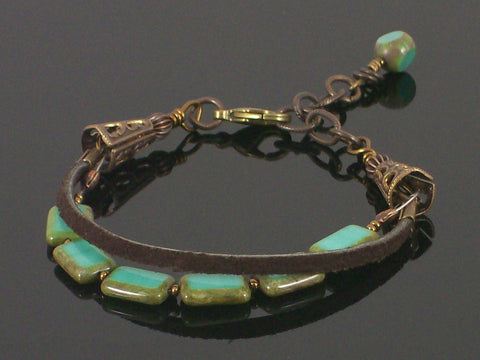 2-strand Turquoise crystal & leather bracelet (Web-192)