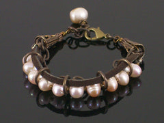 Multi-strand Pearl, chain & leather bracelet (Web-194)