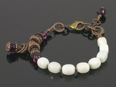 Single-strand Amazonite & amethyst crystal bracelet (Web-198)