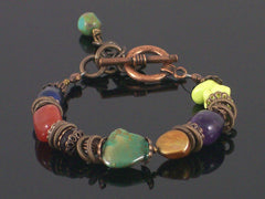Single-strand Multi-stone toggle bracelet (Web-199)