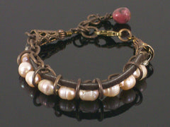 Multi-strand Pearl, chain & leather bracelet (Web-201)