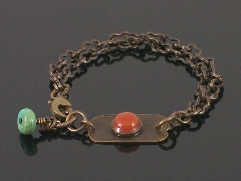 Multi-strand Antiqued chain with carnelian cabochon bracelet (Web-202)