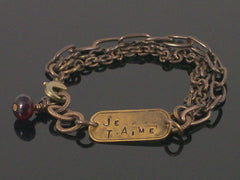 Multi-strand Antiqued chain with Hand-stamped dogtag bracelet (Web-203)