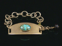 Antiqued ID Bracelet with Turquoise Cabochon (Web-204)