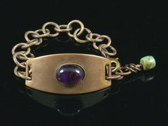 Antiqued ID Bracelet with Amethyst Cabochon (Web-205)
