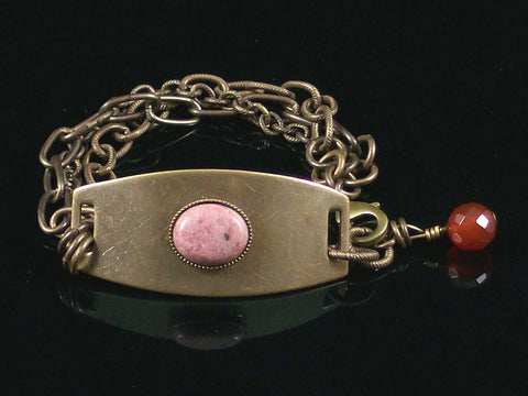 Multi-Strand antiqued ID Bracelet with Rhodonite Cabochon  (Web-206)