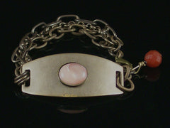 Multi-Strand Antiqued ID Bracelet with Pink/Peach Shell Cabochon (Web-207)