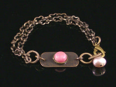 Multi-strand Antiqued Chain with Rhodonite Cabochon Bracelet (Web-208)