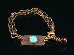 Multi-strand Antiqued Chain with Turquoise Cabochon Bracelet  (Web-209)