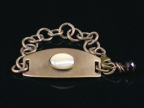 Antiqued ID Bracelet with Mother of Pearl cabochon (Web-210)